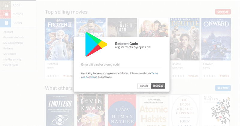 Google play tinder redeem code